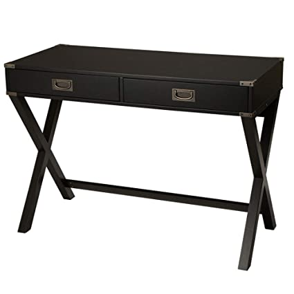 Amazon.com: Glitzhome Modern Desk with Drawers X-Leg Black Desk for ...