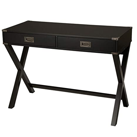 Glitzhome Modern Desk with Drawers X-Leg Black Desk for Bedroom 30\