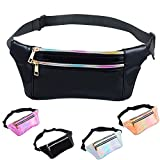 iAbler Holographic Fanny Pack for Women and Men Metallic 80s Shiny Fanny Packs with Adjustable Belt Fashion Waist Bum Bag for Party, Festival, Rave, Hiking, Trip
