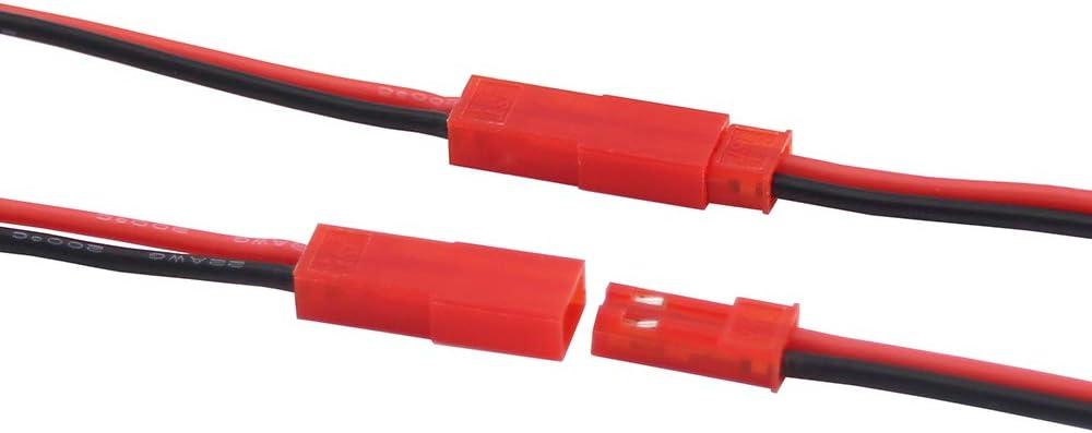 Confezione da 20 OliYin 20 Paia 22awg Connettore JST a 2 Pin Maschio Femmina Spina 15 cm Cavo in Silicone per Striscia LED Lampada RC Giocattoli BEC Batteria