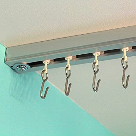 RoomDividersNow Ceiling Track Set - X-Large, For Spaces 18ft - 24ft Wide (Silver) (Wide Room Divider)