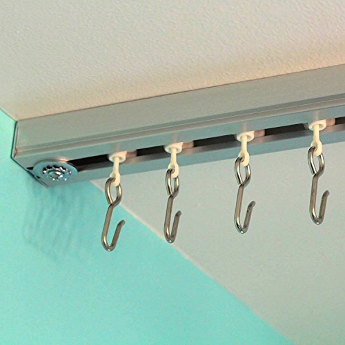 RoomDividersNow Ceiling Track Set   Medium, For Spaces 6ft   12ft Wide  (Silver)