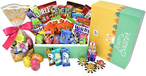Easter Variety Snack and Chocolate Gift Pack in Happy Easter Gift Box (Green) - 30 COUNT - Easter Bunny, Chocolate Eggs, Reese's, Lindt, Ghirardelli - Easter Gifts for Family, Friends, Kids, Coworkers