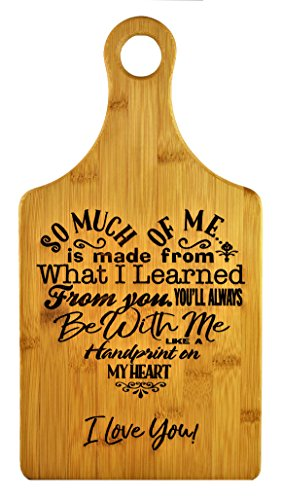 Mothers Gift – Special Love Heart Poem Bamboo Cutting Board Design Mom Gift Mothers Day Gift Mom Birthday Christmas Gift Engraved Side For Décor Hanging Reverse Side For Usage (7x13.5 Paddle) ()