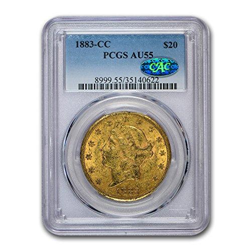 1883 CC $20 Liberty Gold Double Eagle AU-55 PCGS CAC G$20 AU-55 PCGS