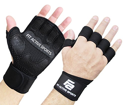 Fit Active Sports The Gripper Weight Lifting Gloves with Wrist Wraps - Extra Grip & Padding for Lifting, Gym Workout, Cross Training Fitness, Weightlifting. for Men & Women. No Calluses - Mens Gripper Gloves
