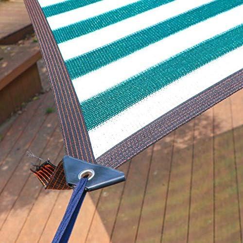HUYYA 90%日焼け止め シェード 布 ネット、シェーディングネット ミシン目付き 遮光日よけネット 強化エッジ オーニングシェード 角補強 テラス用,Stripe_2x6m/6x18ft