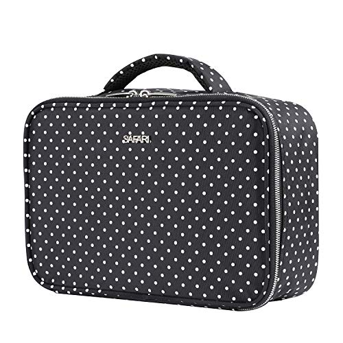 Travel Makeup Bag by SAFARI (Polka Dot) - Cosmetic Toiletry Organizer Train Case with Adjustable Velcro Dividers and Long Brush Holders - Bonus Pouch - The Perfect Gift