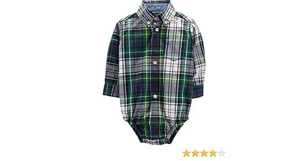 6c2fbf434 Amazon.com: Carter's Baby Boys' Plaid Button Front Bodysuit: Clothing