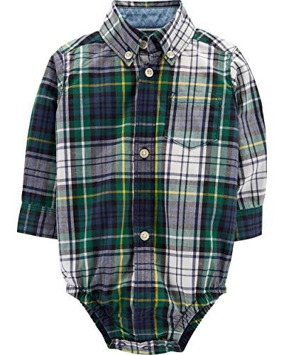 Carter's Baby Boys' Button Front Cotton Plaid Bodysuit (12 months, green) ()