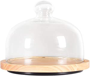 HEMOTON Wood Cake Stand with Glass Dome Lid Cake Serving Platter Dust-Proof Cake Container Dessert Plate Food Holder for Wedding Birthday Party Supplies 6 Inches Transparent