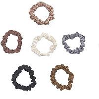 6 Pcs Silk Hair Scrunchies Soft & Comfortable Small Silk Scrunchy Skinny Hair Ties Bows Ropes Elastics Ponytail Holders…