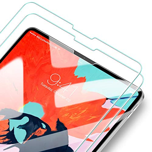([2 Pack] 2.5D Arc Full-Coverage Tempered Glass Screen Protector for Apple iPad Pro 12.9 Inch 3rd Gen 2018 Tablet, No Issues with Face ID, Apple Pencil Works Great by)