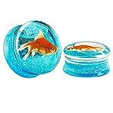 KUBOOZ(1 Pair) Transparent Acrylic Fish Blue Ocean Ear Plugs Tunnels Gauges Stretcher Piercings