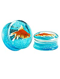 KUBOOZ(1 Pair) Transparent Acrylic Fish Blue Ocean Ear Plugs Tunnels Gauges Stretcher Piercings