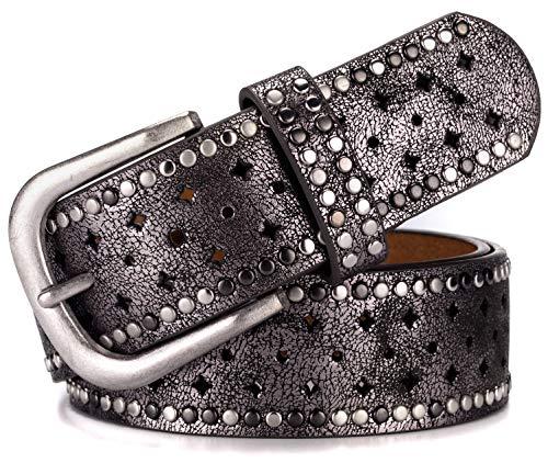 (Ayli Women's Jean Belt, Metal Rivets Punk Rock Handcrafted Genuine Leather Belt, Free Gift Box, Metallic Black, Fits Waist 32
