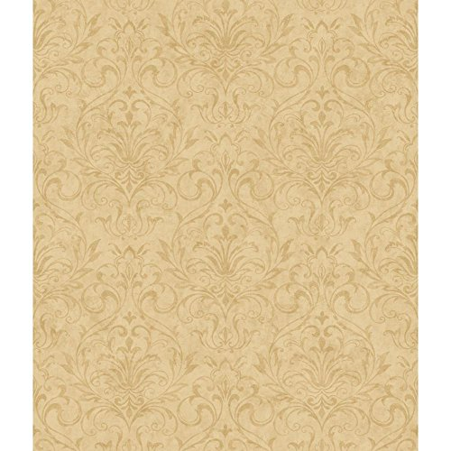 York Wallcoverings YC3376 Welcome Home Distressed Damask Wallpaper, Palomino Tan/Manila Tan ()