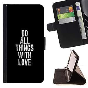 BullDog Case - FOR/LG Nexus 5 D820 D821 / - / DO ALL THINGS WITH LOVE /- Monedero de cuero de la PU Llevar cubierta de la caja con el ID Credit Card Slots Flip funda de cuer