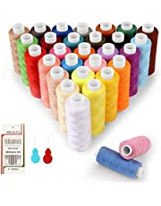 Sewing Thread 30 Colors Sewing Kit 240 Yards for spools 100% Colored Polyester, Silky and Resistant with 16 Needles and 2 Threader Suitable for Machine Sewing and Hand Sewing