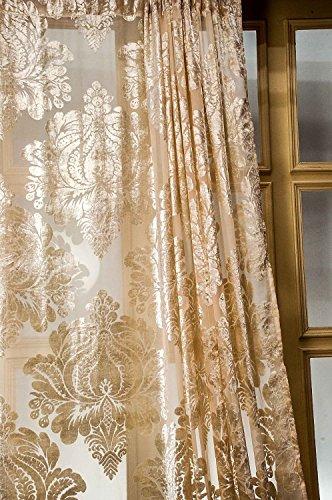 "Isabella velvet sheer curtain (Ivory, 52""W X 108""L)"