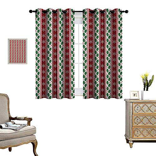 Warm Family Snowflake Patterned Drape for Glass Door Holly Berry Leaves and Snowflakes on Vertical Banners Christmas and New Year Waterproof Window Curtain W55 x L72 Ruby Fern Green