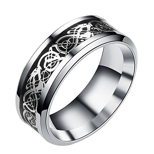 (Napoo-Ring Women Men Bohemian Vintage Silver Stack Totem Dragon Pattern Above Knuckle Rings)