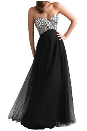 DLFASHION Womens Strapless Empire Tulle Long Prom Dress Size 2 Black