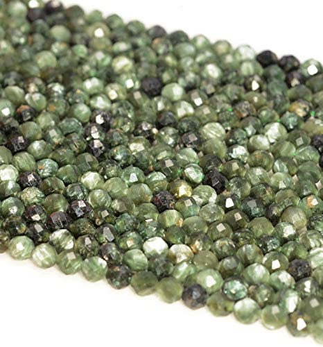 3.8MM SERAPHINITE GEMSTONE GRADE AAA MICRO FACETED ROUND LOOSE BEADS 15.5/""