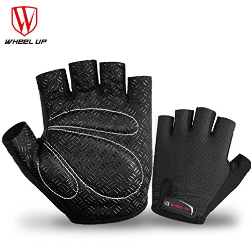 Price comparison product image Boofab Cycling Gloves Mountain Anti-skid Bike Gloves Road Racing Bicycle Gloves Light Silicone Gel Pad Riding Gloves Half Finger Biking Gloves Men / Women Work Gloves (Black,  L)