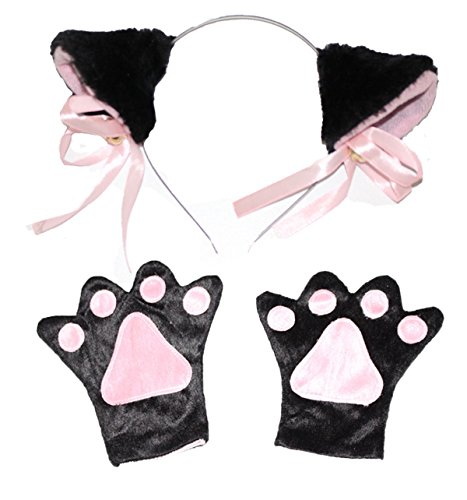 Cat Costume Makeup Kid (Halloween Costume Set Party Cosplay Dress up,Cute Costume for Kids Girls / Boys (Black Hair Band+Paws))