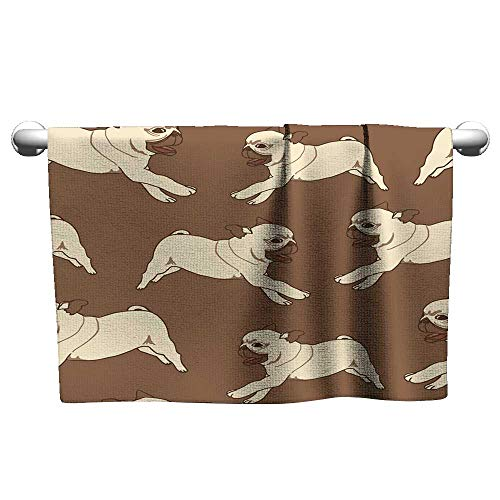 Cute Hand Towels Seamless Pattern with Hand Drawn Pug puppies1,t Shirt Towel for Curly Hair
