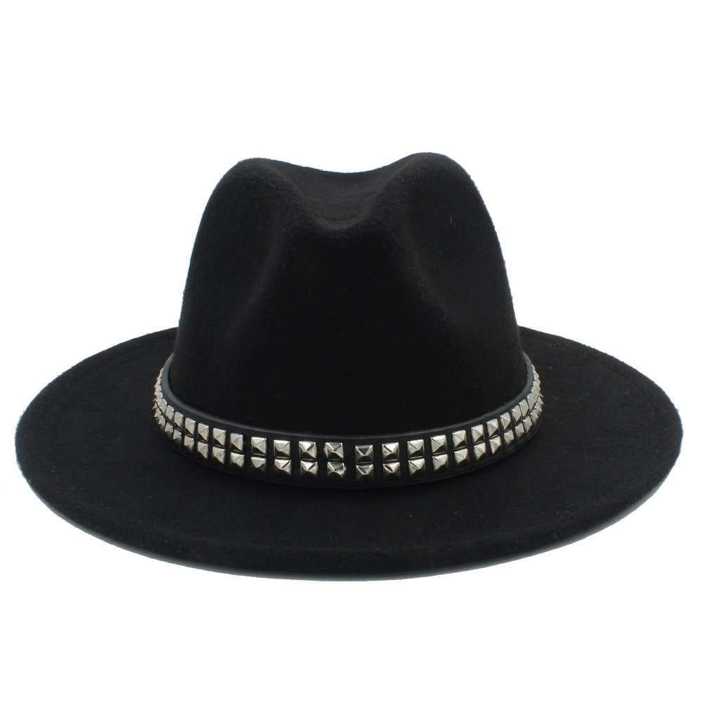 LLPBUA-HAT Women Men Wool Fedora Hat For Gentleman Lady Jazz Hats With Punk Ribbon