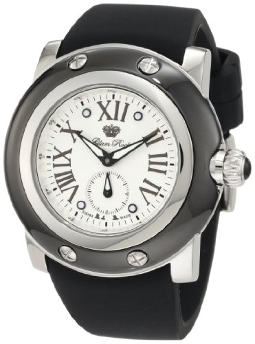 Glam Rock Men's GRD10029 Miami Silver Textured Dial Black Silicone Watch