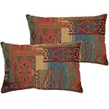 2 Piece 12.5x19 Brown Red Southwestern Throw Pillows, Geometric Tribal Pattern Southwest Rustic Country Themed Pillow, Rectangle Chevron Medallion Print, Headrest Cushion Couch Bedding, Cotton