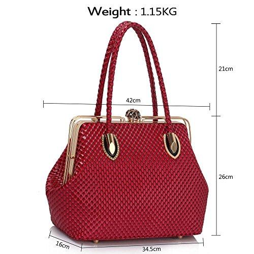 LeahWard® Damen Mode Essener Qualität Chic Schön Taschen Handtaschen Tote Schultertasche CWS00241 (Fuchsia)