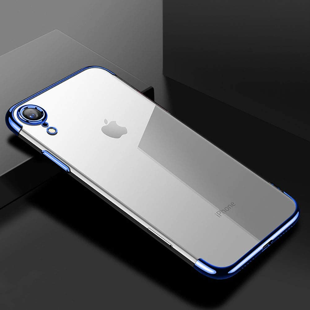 For iPhone XR Clear View TPU Case With Screen Protector,Aearl Slim Fit Silicone Soft Transparent Cover Plating Electroplating Edge Shockproof Protective Frame Bumper for iPhone XR-Blue