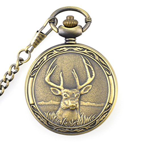 WZC Big Size 5cm Diameter Retro Bronze Quartz Pocket Watch with Chains