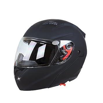 LCD-WORLD Casco de moto con cara completa abierta, talla XL, color negro