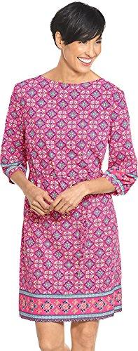 Gathered Silk Tunic - Coolibar UPF 50+ Women's Garden Party Dress - Sun Protective (Large- Pink Spanish Mosaic)