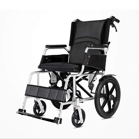 Shisky Carro Plegable para Silla de Ruedas para Ancianos discapacitados aleación de Aluminio Ultra Ligero cojín
