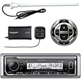 Kenwood KMRM318BT MP3/USB/AUX Marine Boat Yacht Stereo Receiver - Bundle Combo With KCARC35MR Wired Remote Control + SiriusXM Radio Tuner + Enrock Outdoor Rubber Mast 45 Antenna