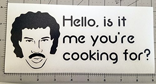 "Price comparison product image HELLO, IS IT ME YOU'RE COOKING FOR 8.5"" x 3.5"" Instant Pot Vinyl Decal Sticker Lionel Ritchie - 20 COLOR OPTIONS - BLACK"