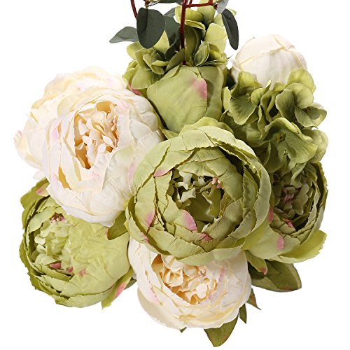 Fake Artificial Flowers Vintage Silk Peony Flowers Bouquet for Home Wedding Centerpieces Décor and DIY (Green)