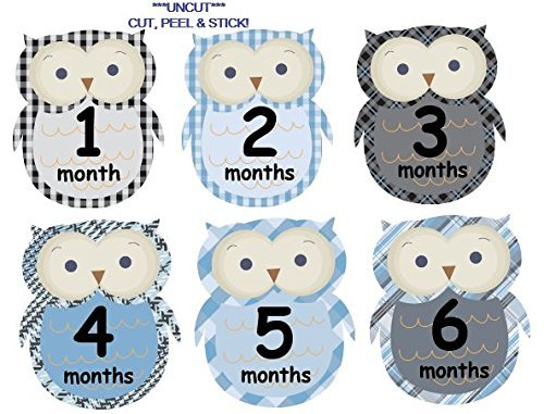 Monthly Baby Boy Stickers Plaid Owls UNCUT Argyle Damask Stripes Boy Owls