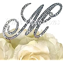 """Victorian Collection Monogram Rhinestone Cake Topper - Large - Silver (4.75"""" Tall) (Letter M)"""