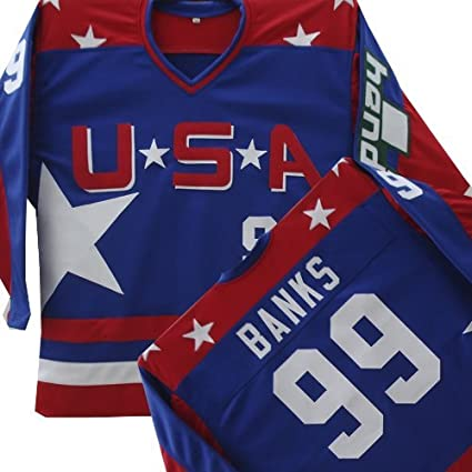 01d77eb32 Image Unavailable. Image not available for. Color  MIGHTY DUCKS D2 TEAM USA  HOCKEY BANKS JERSEY