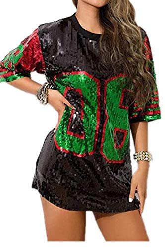 DIVA PROJECT Womens Sequins Short Sleeve Printed Loose Fit Tshirt/Dress OneSize (08 Black&red, OneSize)