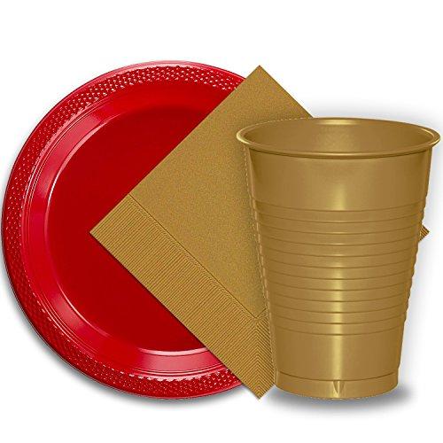 (50 Red Plastic Plates (9