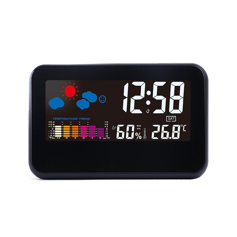 IDABAY Multifunctional Indoor Outdoor Digital Color LCD Display LED Projection Alarm Clock Hygrometer with Voice-activated Backlight/Home Weather Station/Temperature/Humidity(Black)