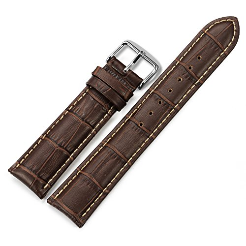 iStrap 21mm Replacement Calf Leather Strap Crocodile Grain Watch Band Accessories - Brown